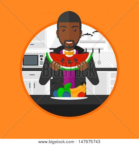 An african-american man eating watermelon in front of table full of fresh fruits. Man holding a slice of watermelon in the kitchen. Vector flat design illustration in the circle isolated on background