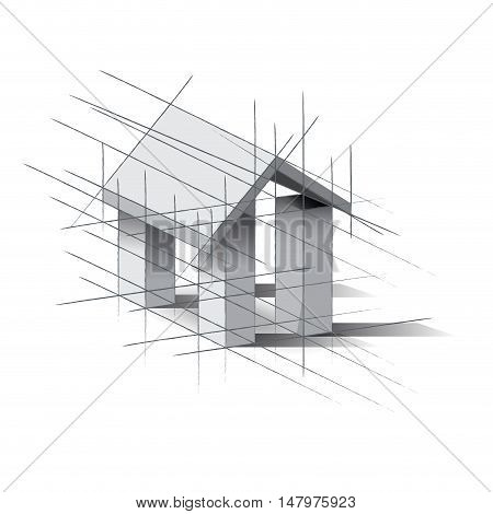 Vector sign house project isolated in white