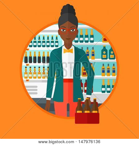 An african-american woman standing in alcohol store. Woman holding pack of beer at supermarket. Woman standing at alcohol section. Vector flat design illustration in the circle isolated on background.