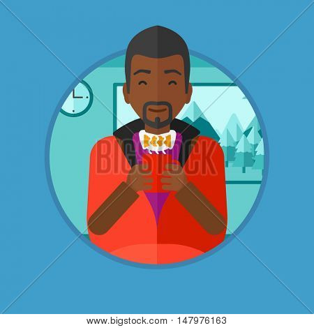 African-american man relaxing under blanket with cup of coffee. Man drinking coffee at home. Man holding cup of flavored coffee. Vector flat design illustration in the circle isolated on background.