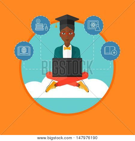 An african-american graduate sitting on the cloud. Graduate working on laptop. Education technology and graduation concept. Vector flat design illustration in the circle isolated on background.