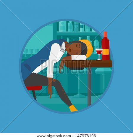 An african-american drunk woman deeply sleeping near the bottle of wine and glass on table. Drunk woman sleeping in bar. Vector flat design illustration in the circle isolated on background.