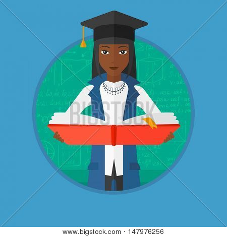 An african-american graduate in graduation cap holding an open book in hands. Graduate on a background of green blackboard with mathematical equations. Vector flat design illustration in the circle.