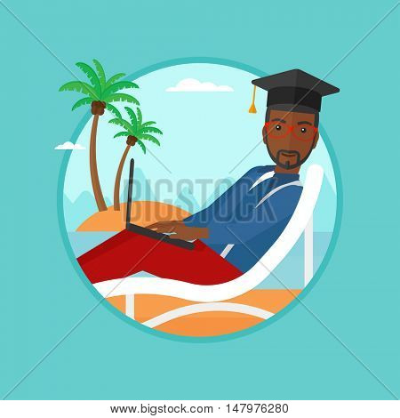 An african-american graduate lying in chaise long. Graduate in graduation cap working on laptop. Graduate studying on a beach. Vector flat design illustration in the circle isolated on background.