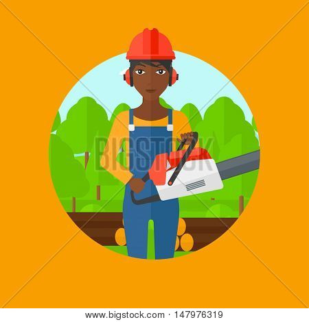 An african-american female woodcutter holding a chainsaw. Woodcutter in workwear, hard hat and headphones at the forest with logs. Vector flat design illustration in the circle isolated on background.