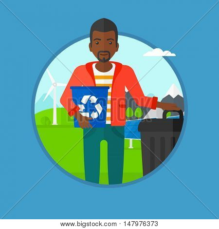 An african-american man holding recycling bin in hand and standing near trash can on a background of wind turbine and solar panel. Vector flat design illustration in the circle isolated on background.