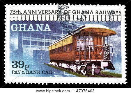 GHANA - CIRCA 1978 : Cancelled postage stamp printed by Ghana, that shows Pay and bank car.