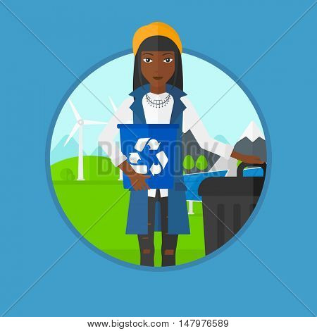 African-american woman holding recycling bin in hand and standing near trash can on a background of wind turbine and solar panel. Vector flat design illustration in the circle isolated on background.
