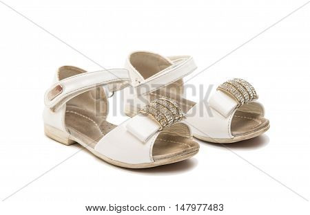 old baby shoes isolated on white background