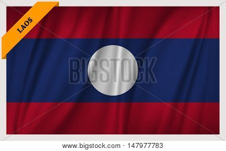 National flag of Laos - waving edition