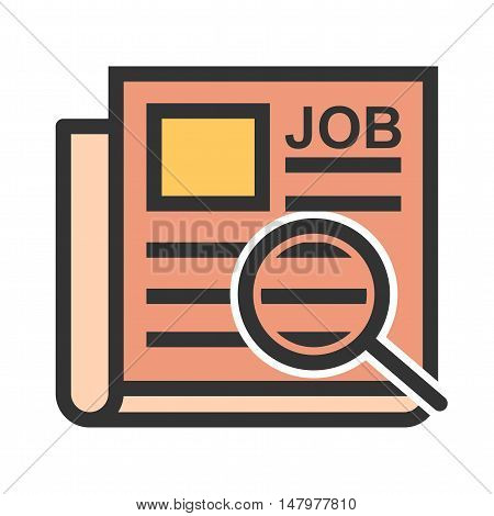 Job, ad, newspaper icon vector image. Can also be used for employment. Suitable for use on web apps, mobile apps and print media.