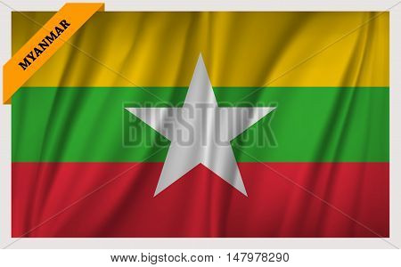 National flag of Myanmar - waving edition