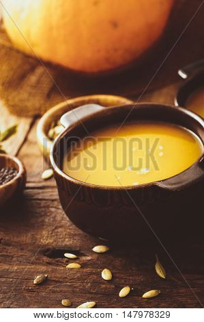 Pumpkin soup. Autumn dinner with healthy vegetable soup