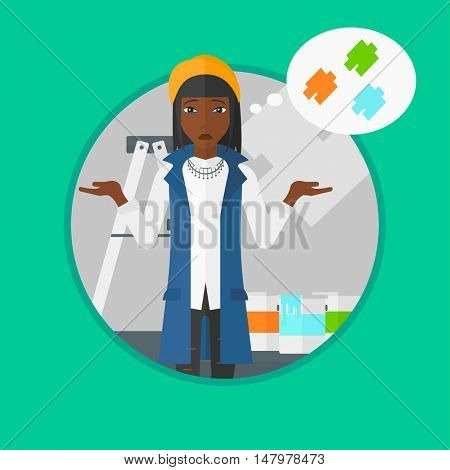 An african-american doubtful woman choosing color for walls in apartment. Young woman with spread arms choosing a color of paint. Vector flat design illustration in the circle isolated on background.
