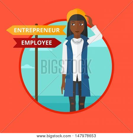 An african-american woman standing at road sign with two career pathways. Young woman making a decision of his career pathway. Vector flat design illustration in the circle isolated on background.