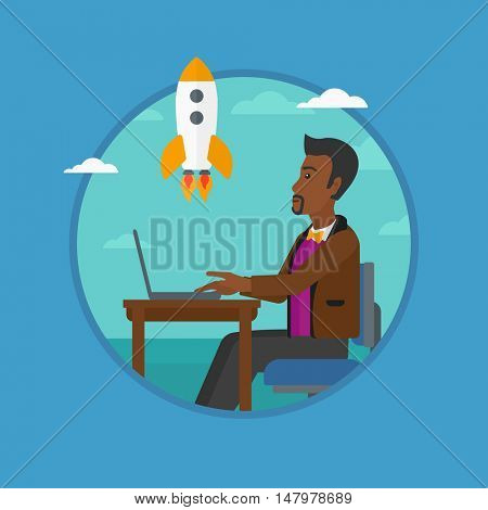 An african-american businessman looking at flying business rocket. Businessman working on a laptop. Business start up concept. Vector flat design illustration in the circle isolated on background.