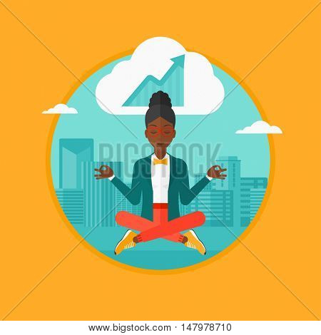 An african-american peaceful business woman with eyes closed doing yoga in lotus pose outdoors and thinking about the growth graph. Vector flat design illustration in the circle isolated on background