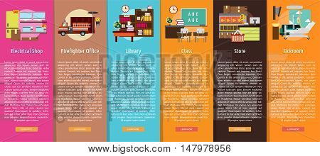 Building Interior Vertical Banner Concept   Set of great vertical banner flat design illustration concepts for building, interior, furniture, architecture, and much more. the set can be used for several purposes like: websites, print templates, presentati