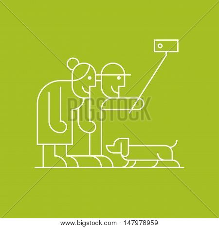 Old people with dachshund dog making selfie with phone vector line clipart. Active and modern grandparents elderly people pensioners symbol icon emblem