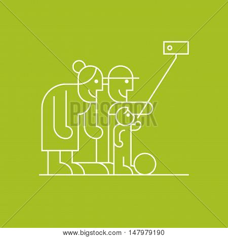 Old people and grandchild making selfie with phone and stick vector thin line pictogram icon symbol. Happy active and modern pensioners clipart