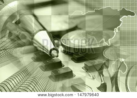 Financial background in sepia with money calculator map and pen.