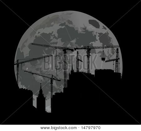 illustration with house building and cranes at moon background