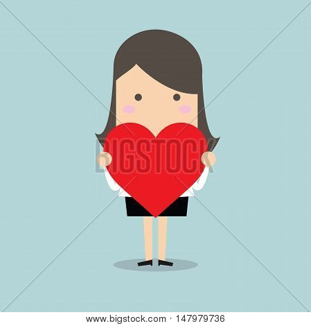 Businesswoman standing with heart shape vector illustration