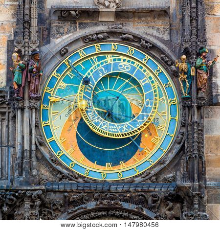 Prague Astronomical Clock (Orloj) in the Old Town Square in Prague, Czech Republic, Europe. Famous Landmarks in Praha