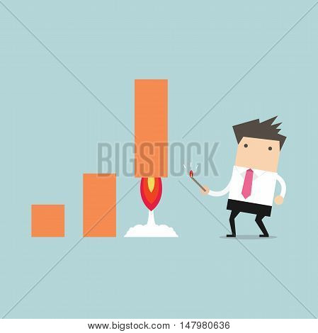 Businessman fire rocket to up selling, vector