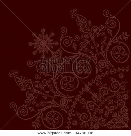 illustration with pink curled quadrant ornament