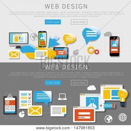 Flat design banners. Web design and internet services. Vector illustration.
