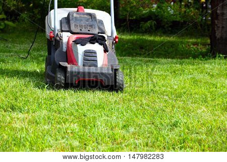 electric lawn mower and a beautiful lush grass