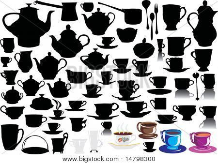 different cup silhouettes collection isolated on white background