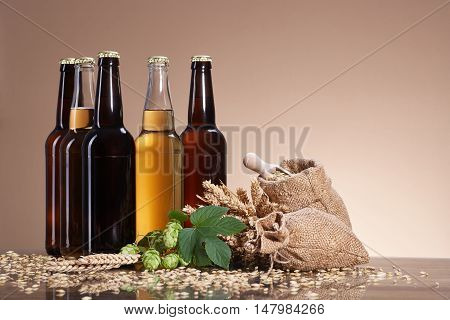 Assortment of fresh beer in bottles, ears of wheat, ripe fruit hops, wooden scoop of grain, brewing ingredients, a glass bottle with a drink, bag of ripe grain