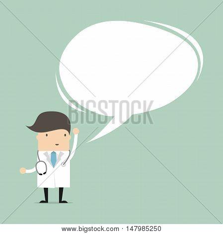 Doctor in medical uniform speaking with speech bubble. vector