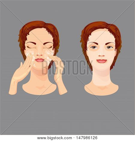 Young woman is using scrub and applying cosmetic mask. Female is taking care of her face skin.