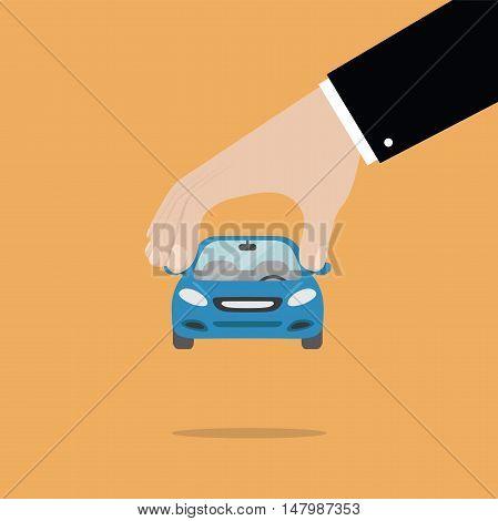 Businessman hand pick a car vector illustration