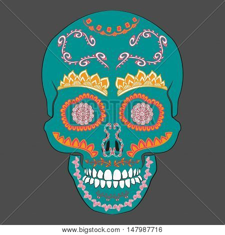 Colored Day of The Dead Sugar Skull with ornament. Vector illustration