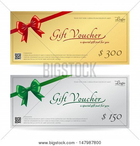 Elegant gift card or gift voucher template with shiny red and green bows and ribbons vector