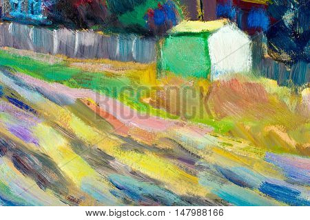 Texture, Background. Background. Picture Painted In Oils. Old Village Autumn. Fuzzy Dirt Road