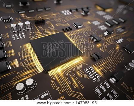 High tech electronic PCB (Printed circuit board) with processor, microchips and glowing digital electronic signals. 3d illustration