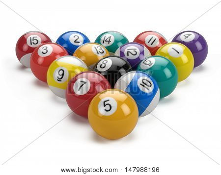 Billiard pool balls pyramid isolated on white - 3d illustration