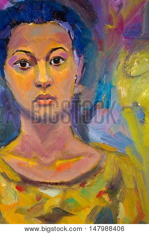 Ethnography, M.sh. Khaziev. Artist Picture Painted In Oils. Female Portrait. A Painting, Drawing, Gi