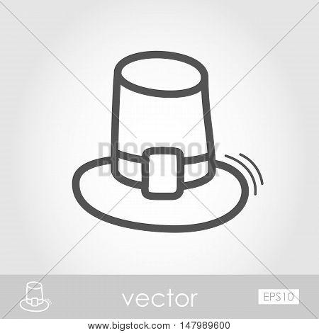 Pilgrim hat outline icon Harvest. Thanksgiving vector illustration eps 10