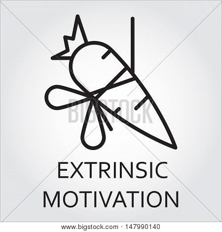Black flat line vector icon with a picture of extrinsic motivation as carrot on a rope on white background.