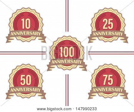 Set of vector labels for major anniversaries.