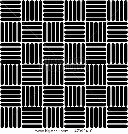 Black and white simple woven geo seamless pattern, vector background
