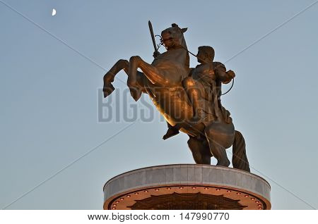 Bronze monument of Alexander the Great in Skopje and clear sky