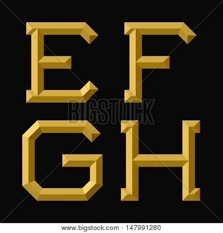 E F G H gold faceted letters. Trendy and stylish golden font.