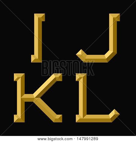 I J K L gold faceted letters. Trendy and stylish golden font.